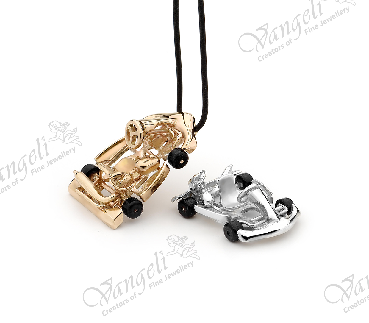 Custom deigned silver and gold go carts