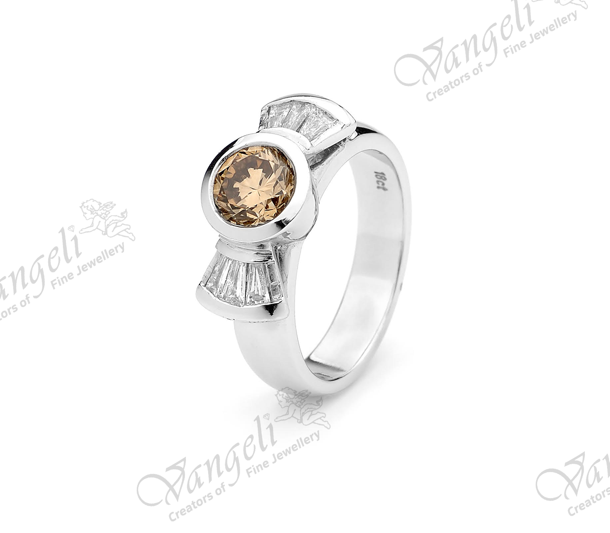 18ct white gold cognac diamond with tapering baguette diamonds