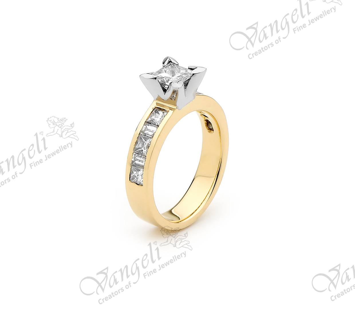 18ct white and yellow gold hand-made diamond ring