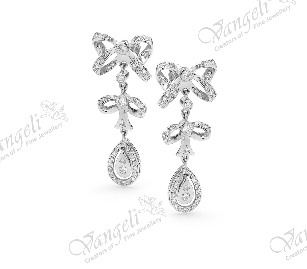Custom designed 18ct white gold diamond earrings
