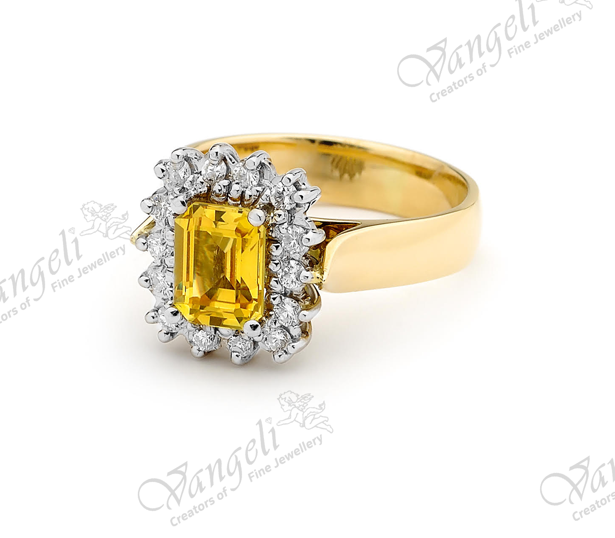 18ct white and yellow gold golden sapphire and diamond hand-made ring