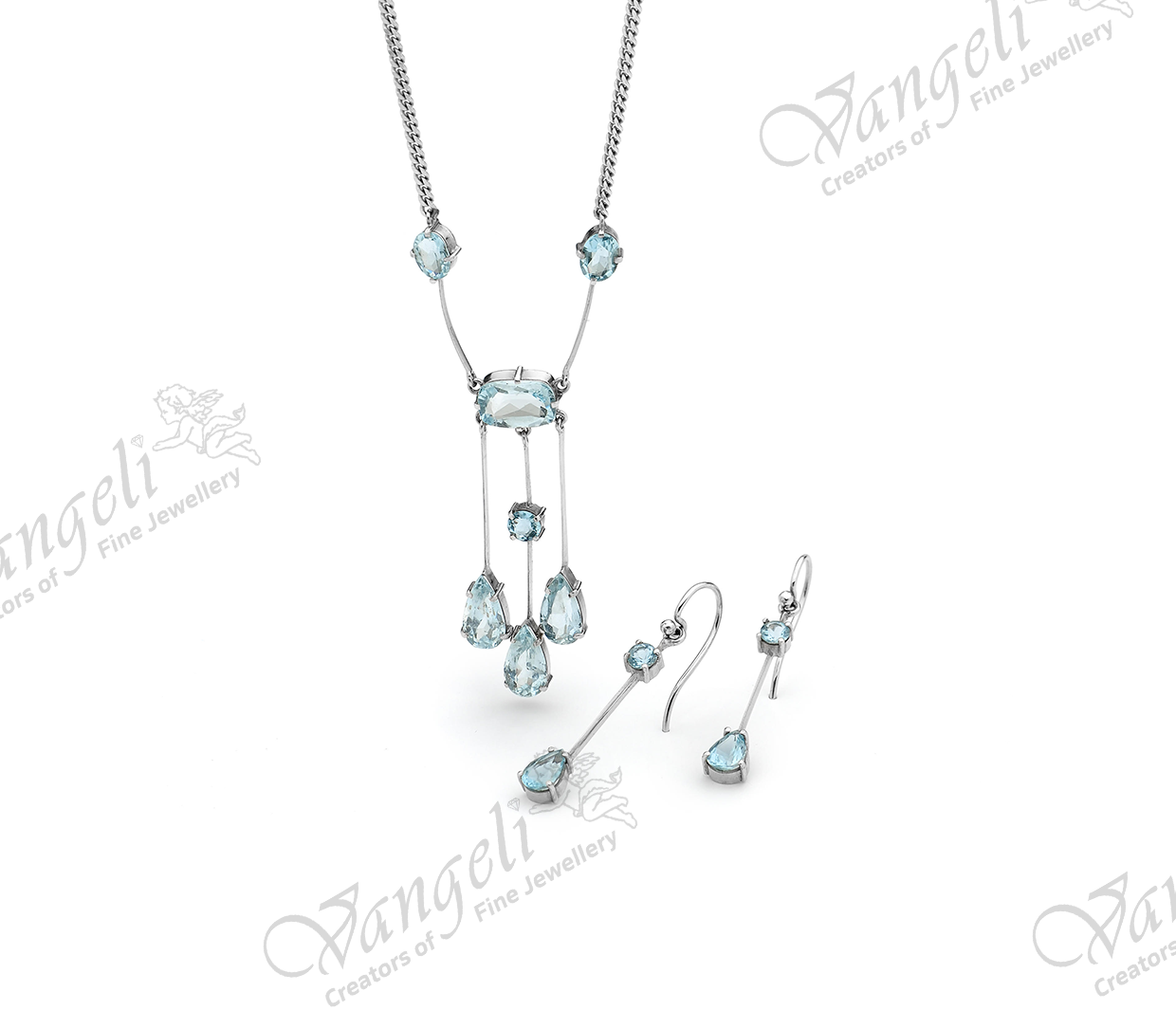 Custom designed 18ct white gold with hand-cut aquamarines necklace and matching earrings