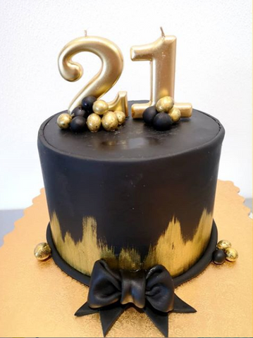 1 tier gold & black cake
