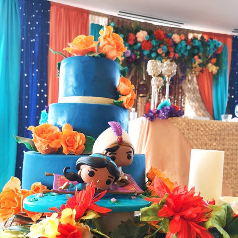Blue aladdin 3 tier wedding cake