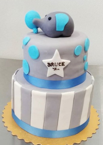 Elephant 2 tier Custom 3D cake