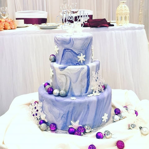 Blue marble 3 tier wedding cake