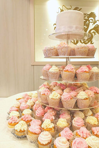 3 tier cupcake tower with cake