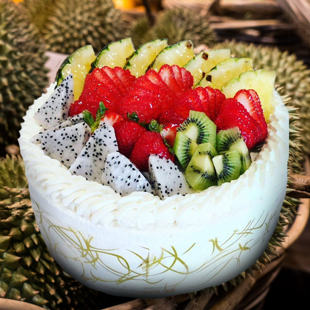 Durian Cake topped with Fresh Fruit