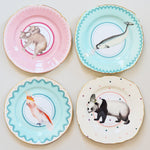 Pretty Pastel Animal Cake Plates, Set of 4