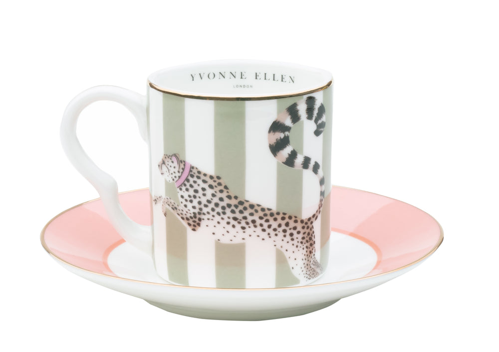 Load image into Gallery viewer, Cheetah espresso cup and saucer