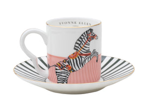 Load image into Gallery viewer, Zebra espresso cup and saucer