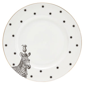 Monochrome Zebras and Cocktails Dinner Plate