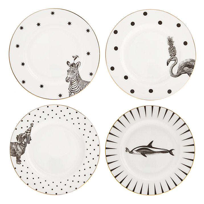 Monochrome Animal Side Plates, Set of 4