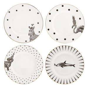 Monochrome Animal Side Plates