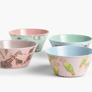 Giraffe, parrot, cheetah and fish Safari Picnic Bowls
