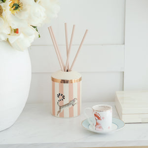 Load image into Gallery viewer, Cheetah reed diffuser with bird espresso cup