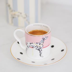 Load image into Gallery viewer, Dalmatian espresso cup and saucer