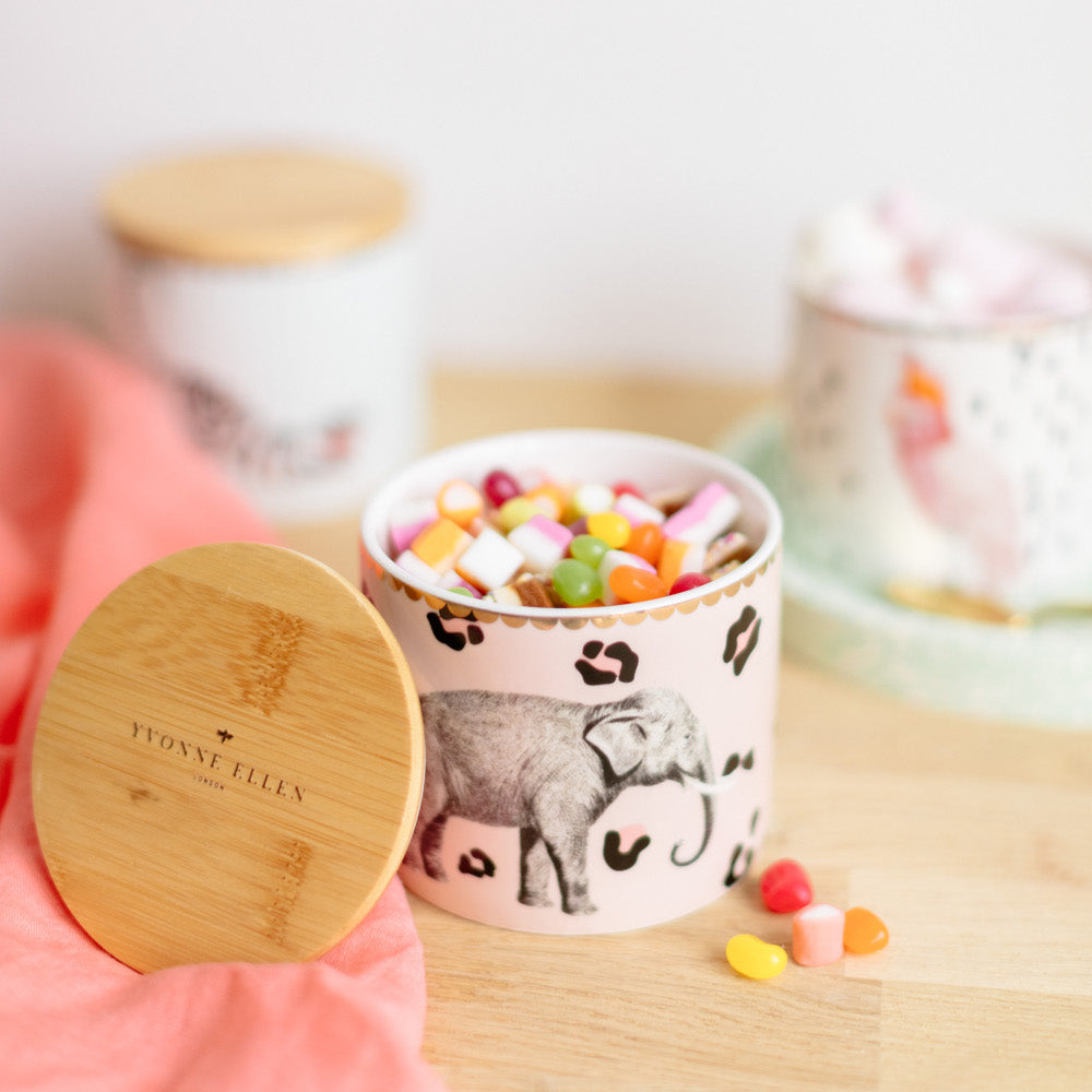 Elephant storage jar with sweets and lid