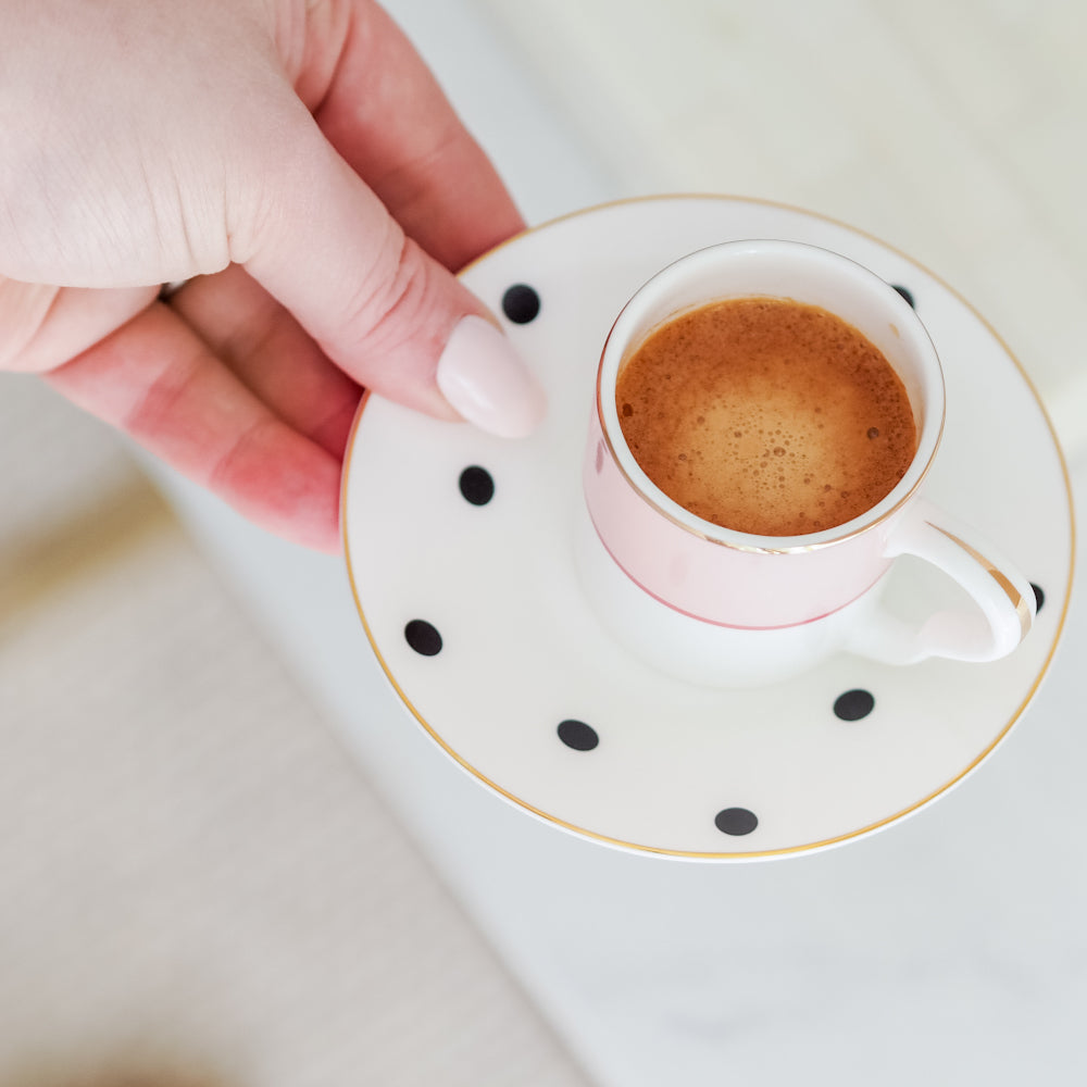 Espresso cup and polkadot saucer