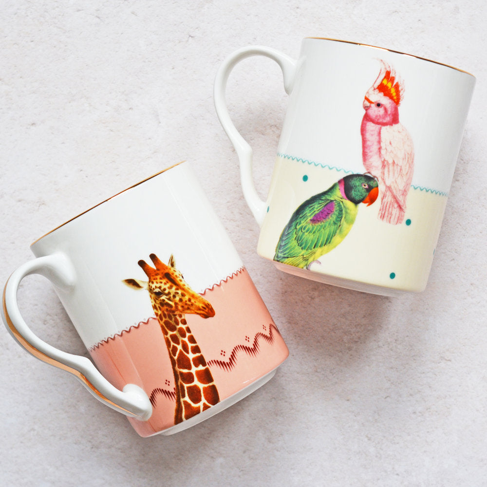 Giraffe and Parrots Mugs, Set of 2
