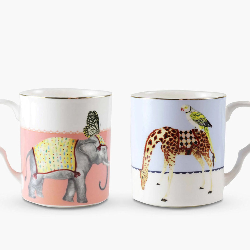 Load image into Gallery viewer, Carnival Elephant and Giraffe Mugs