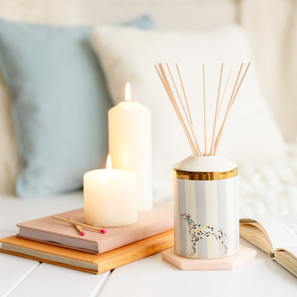 Reed diffuser, books and candles