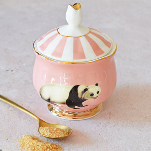 Load image into Gallery viewer, Panda Sugar Bowl with gold spoon and brown sugar