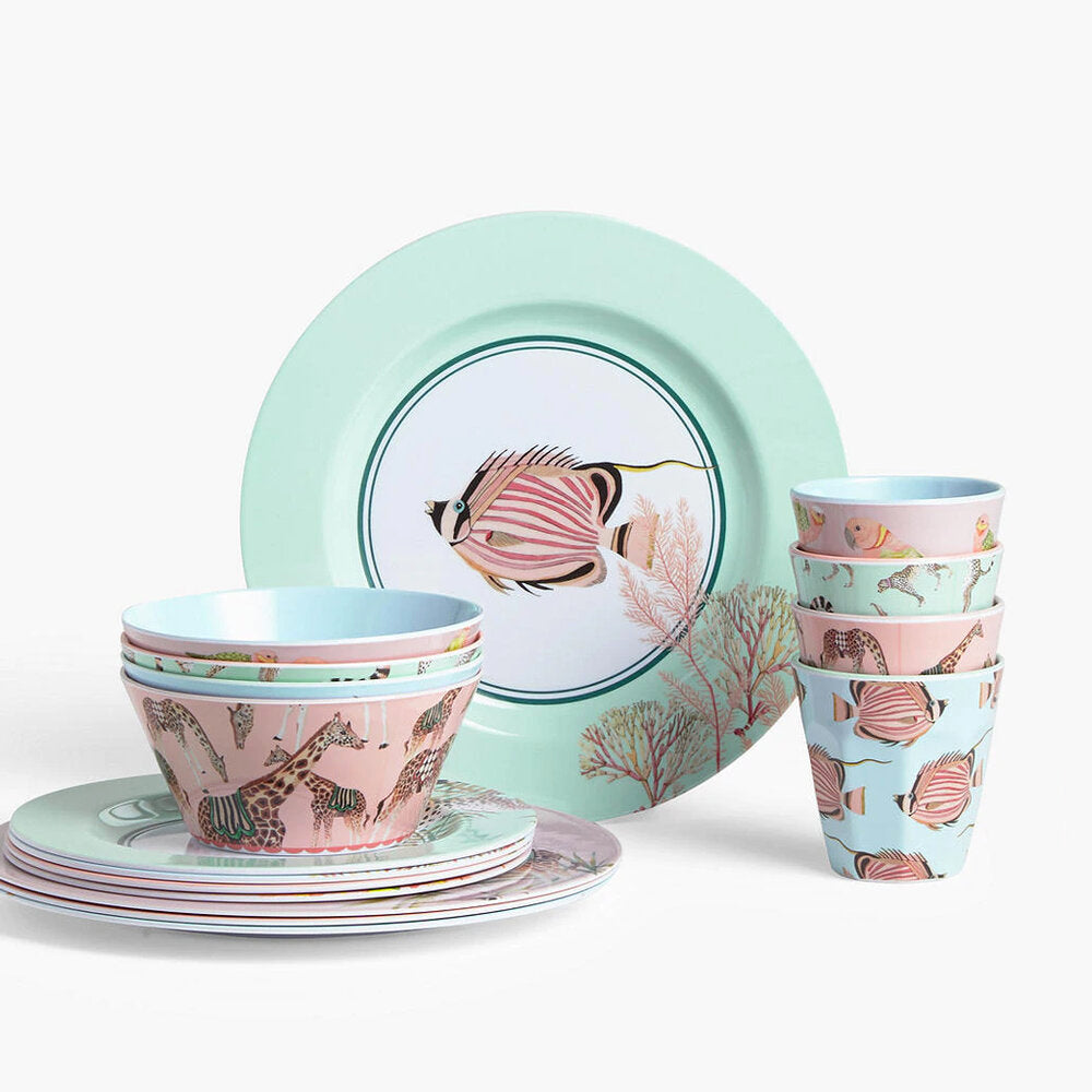 Set of picnic ware including plates, bowls and tumblers