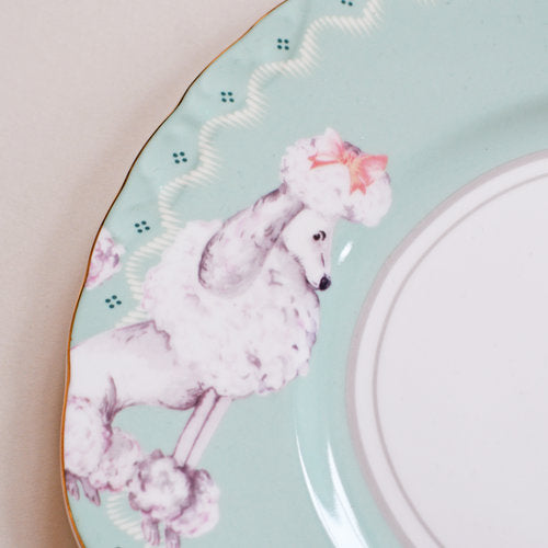 Perching Poodle Plate close up