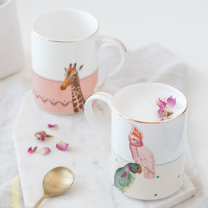 Load image into Gallery viewer, Giraffe and Parrots Mugs, Set of 2