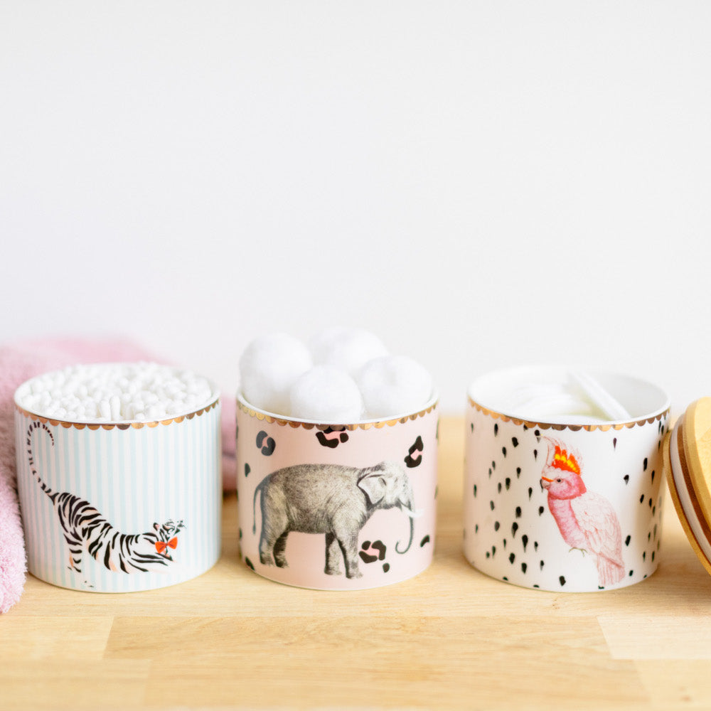 Storage jars with cotton wool