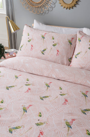 Load image into Gallery viewer, Tropical Parrots Blush Duvet Set