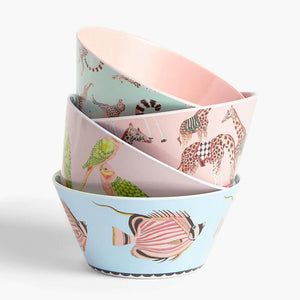 Four Safari Picnic Bowls in a stack