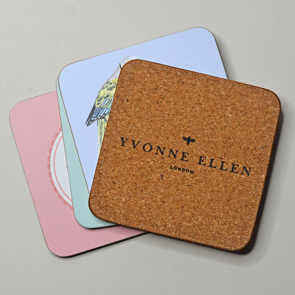 Back of coaster with Yvonne Ellen logo