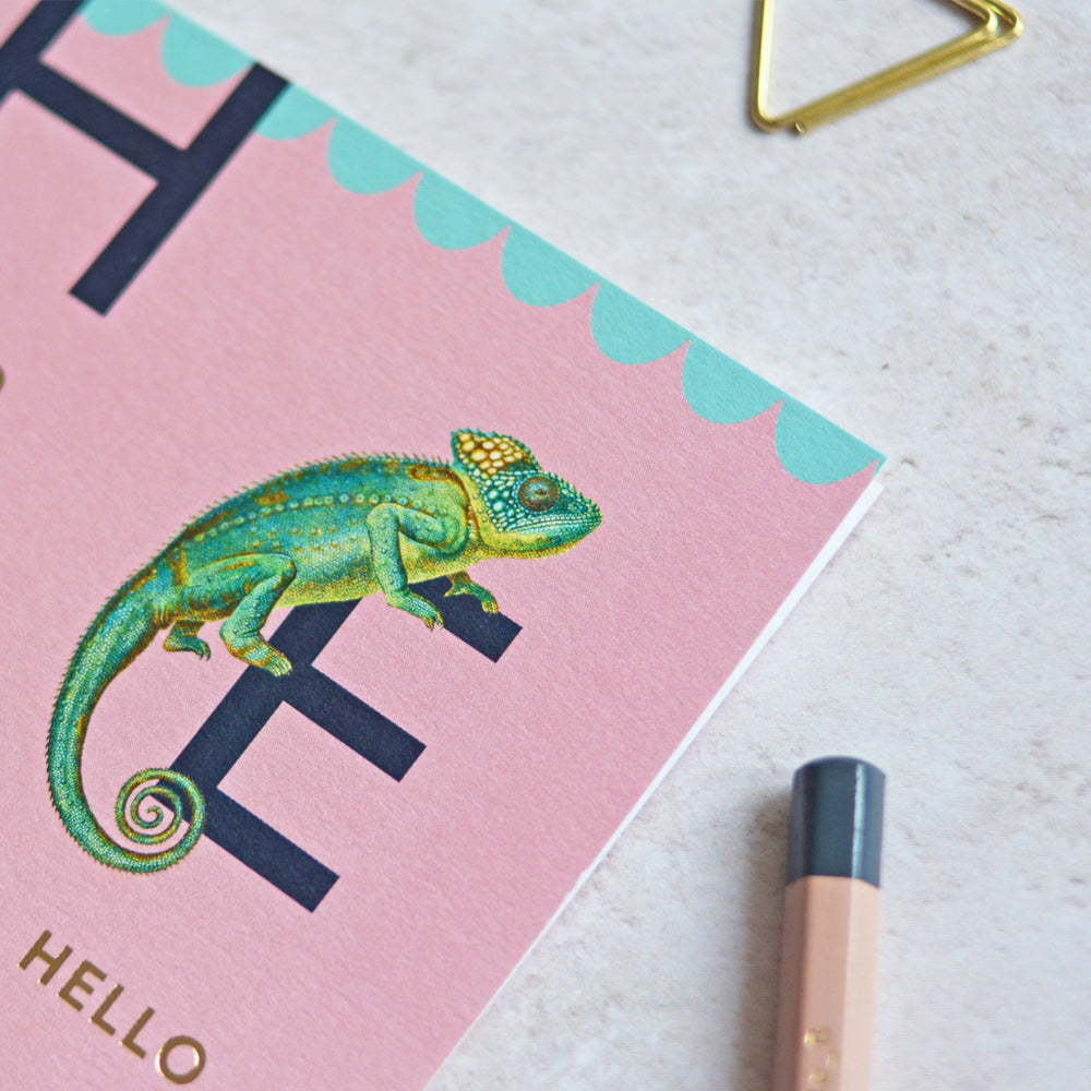 Hello Chameleon Greeting Card