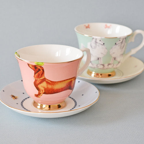 Sausage Dog and Poodle Tea Cup and Saucers set