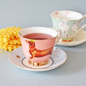 Load image into Gallery viewer, Sausage Dog and Poodle Tea Cup & Saucers