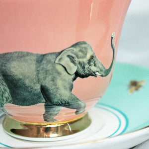 Load image into Gallery viewer, Elephant Teacup and Saucer close up