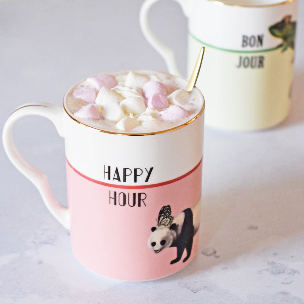 Happy Hour mug with hot chocolate and marshmallows