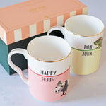 'Happy Hour' and 'Bonjour' Mugs, Set of 2