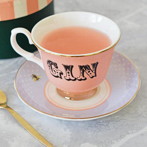 Load image into Gallery viewer, Pastel Gin Tea Cup & Saucer