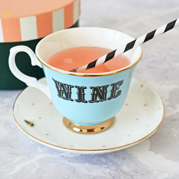 Pastel Wine Tea Cup and Saucer