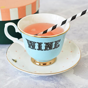 Load image into Gallery viewer, Pastel Wine Tea Cup & Saucer