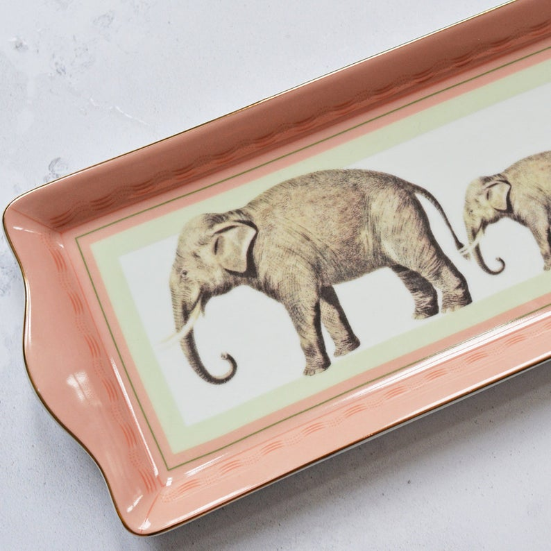 Elephant Fine China Cake Tray