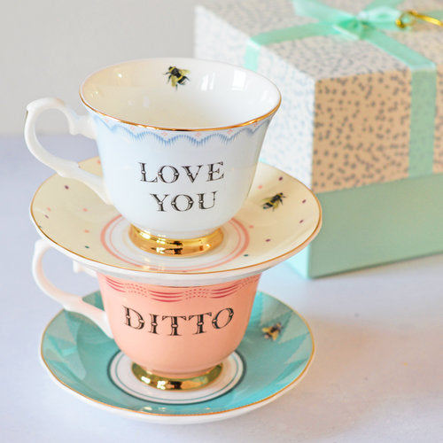 Love You and Ditto Tea Cup and Saucers set