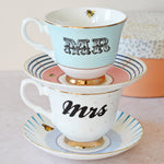 Mr and Mrs Tea Cup and Saucer Set