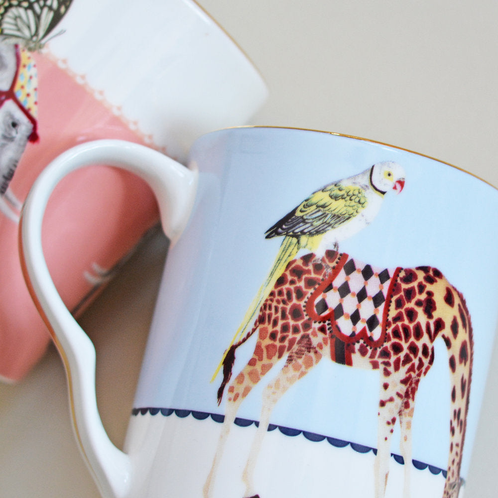 Carnival Elephant and Giraffe Mugs close up