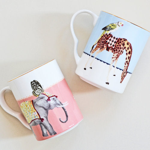Carnival Elephant and Giraffe Mugs, Set of 2