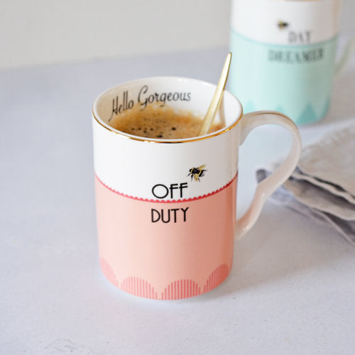 'Off Duty' and 'Day Dreamer' Mugs, Set of 2