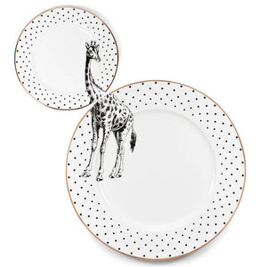 Load image into Gallery viewer, Monochrome Giraffe Plate Set
